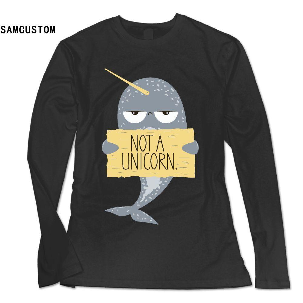 SAMCUSTOM New Fashion Long Sleeve T Shirt Women Cute Narwhal Not A Unicorn 3D print Personality casual female T-shirt