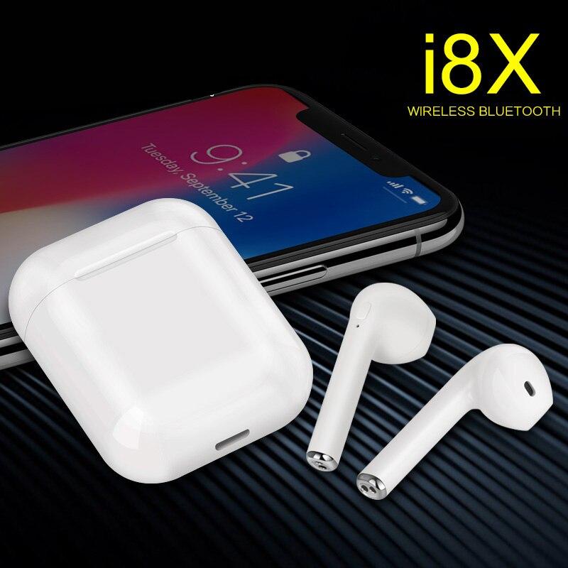 I8X TWS Mini Auricular Bluetooth inalámbrico Auriculares cierto Auriculares inalámbricos Auriculares Kulaklik manos libres Auriculares Auricular