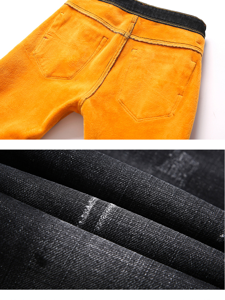 KSTUN Jeans Men Autumn and Winter Quatliy Brand Black Blue Denim Pants Slim Fit Warmer Fleece