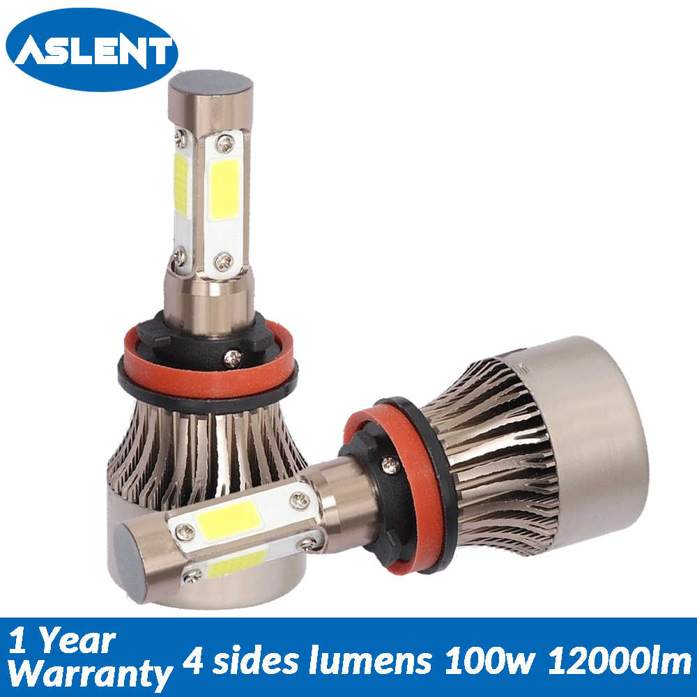 Aslent New 4 Sides Lumens COB 100W 12000lm H7 H4 H11 9005 9006 LED Lamps for Cars Headlight Auto Headlamp fog Light Bulbs 12V