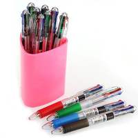 Office School 12 Pcs 0 7mm 4 In 1 4 Colors Clickable Ballpoint Pens For Students