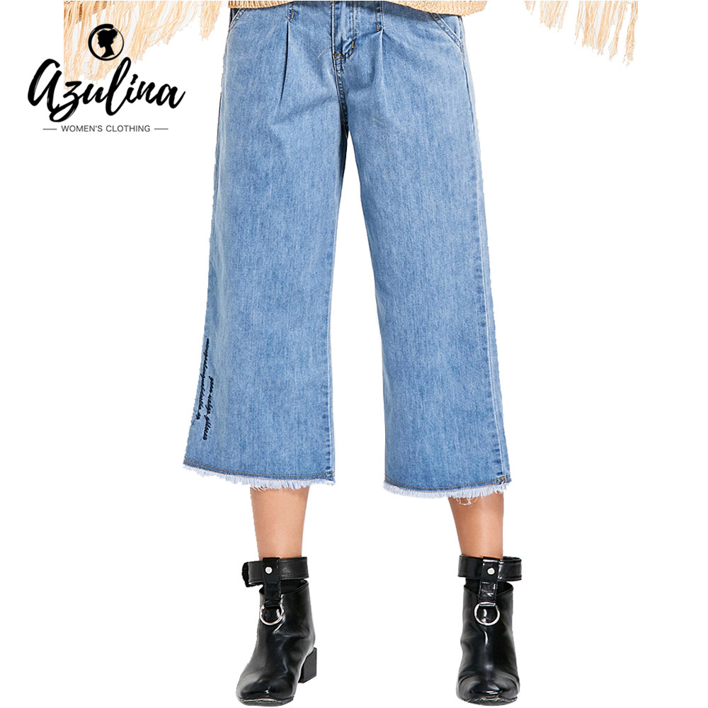 AZULINA New Fashion Embroidered Frayed Wide Leg Jeans Women Loose High Waist Zipper Fly Denim Pants Female Casual Trousers 2017 купить дешево онлайн