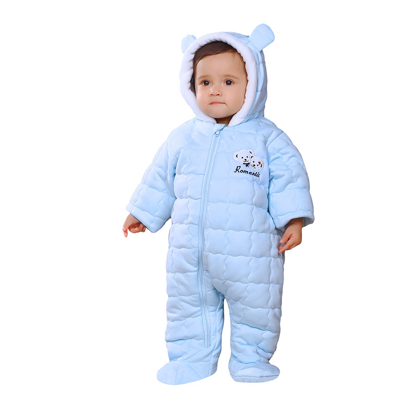 Newborn Romper Infant Jumpsuit Baby Girl Boy Clothes Cute 3D Bear Ear Solid Cotton Autumn Winter Warm baby clothing boys Rompers autumn winter baby girl rompers striped cute infant jumpsuit ropa long sleeve thicken cotton girl romper hat toddler clothes