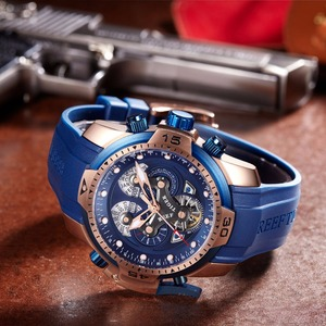 Image 4 - Reef Tiger/RT Top Brand Luxury Sport Watch Men Rose Gold Military Watches Blue Rubber Strap Automatic Waterproof Watches RGA3503