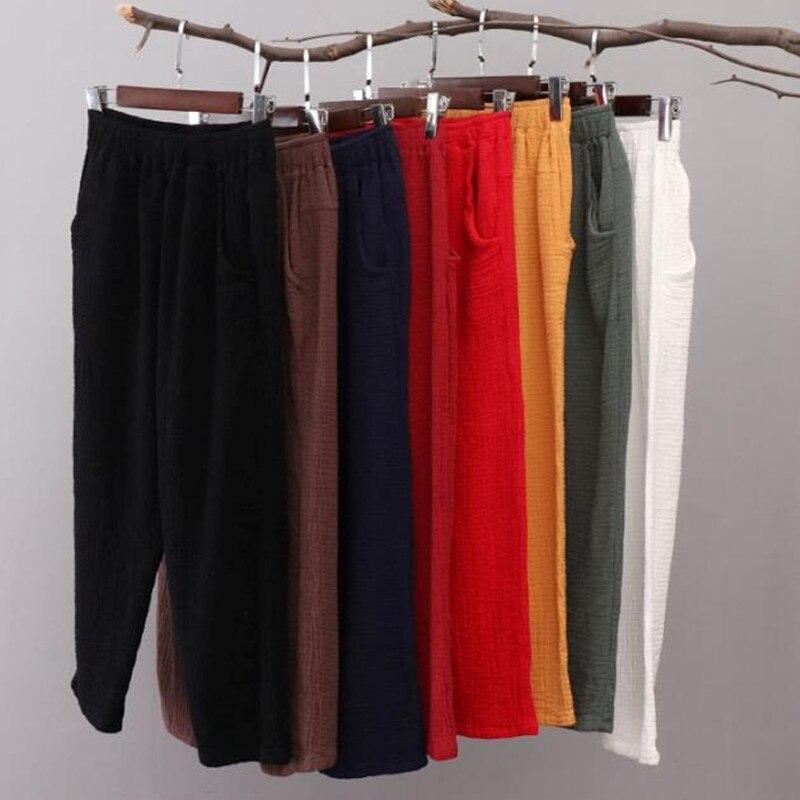Plus Size Trousers Women Harem Pants Femininas 2020 Large Size Cotton Linen Pants Soft Comfortable Pants M-5XL 6XL BLACK WHIET