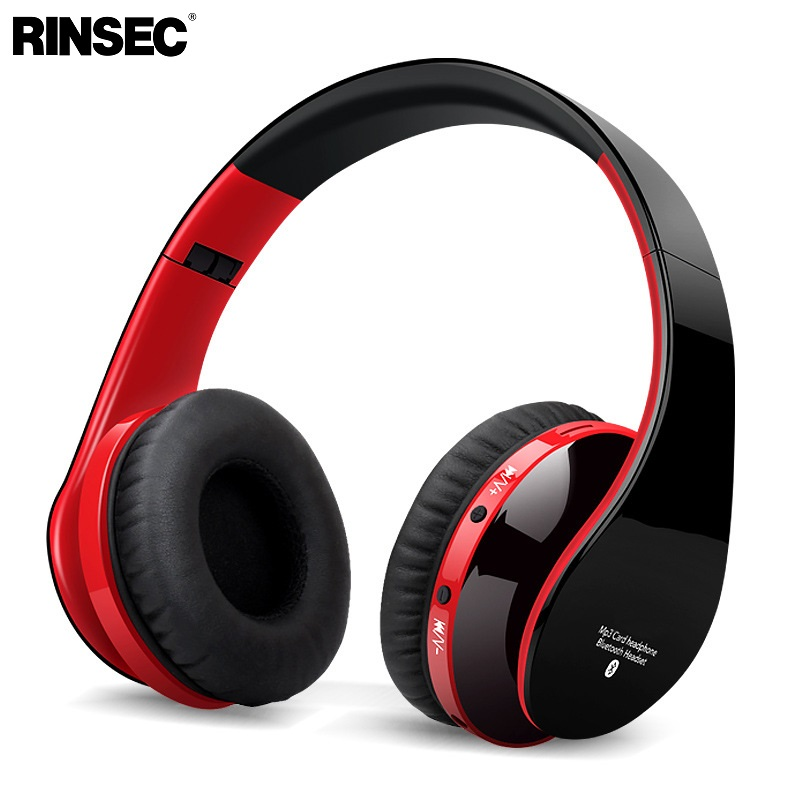 Rinsec Bluetooth Headset Wireless Headband HIFI Headphone with Mic Wired Connection Adjustable for iPhone Xiaomi Huawei for PC rinsec nx 8252 bluetooth headphone headband wireless wired headset foldable with stereo music earphone with microphone