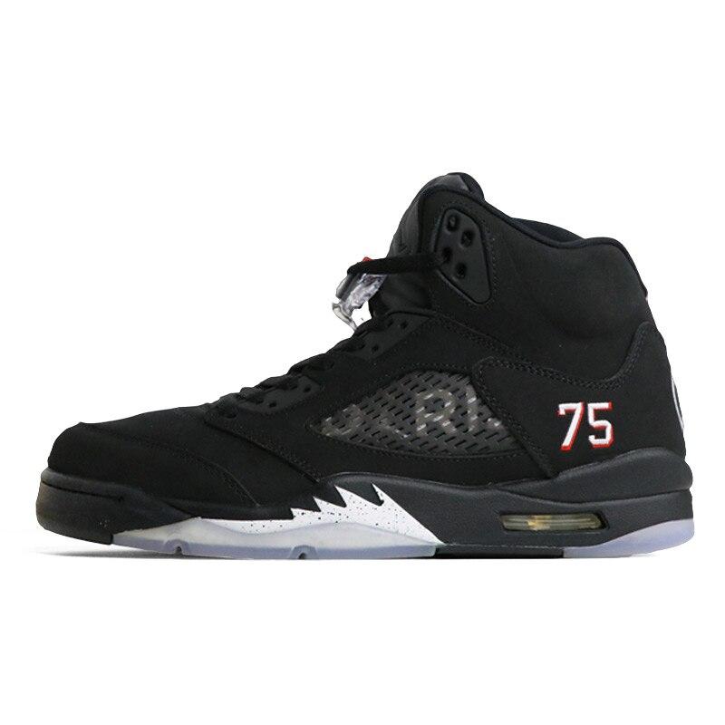 reputable site 0cf65 4faeb Jordan Retro 5 OG Black Metallic Silver PSG bred Men Basketball Shoes Red  Blue Suede Sports Sneakers Shoe