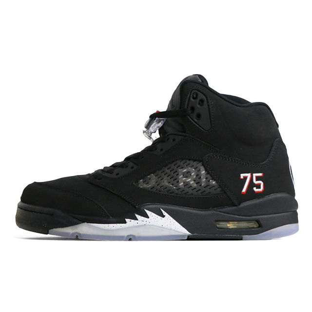 reputable site 90764 af9a9 Jordan Retro 5 OG Black Metallic Silver PSG bred Men Basketball Shoes Red  Blue Suede Sports Sneakers Shoe