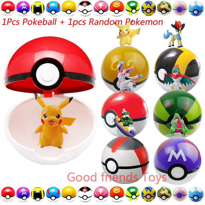 7CM 1Pcs Pokeball + 1pcs Free Random Little Elf Figure Anime Action Figures Pikachu Pokeball Ball Toys For Kids Best Gift