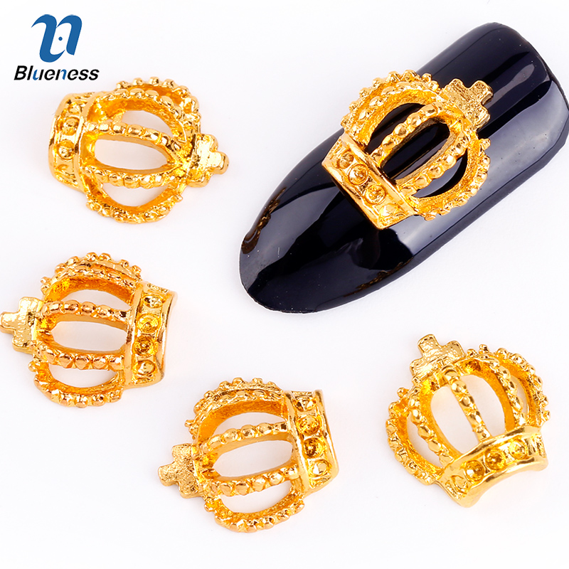 Blueness 10Pcs/Lot 3D Nail Art Decorations Gold Hollow Out Crown With Cross Glitter Rhinestones Studs For Charms Nails TN813 blueness 10pcs 3d nail art rhinestone decoration glitter nails tips silver crown charm jewelry nail studs tools wholesales tn550