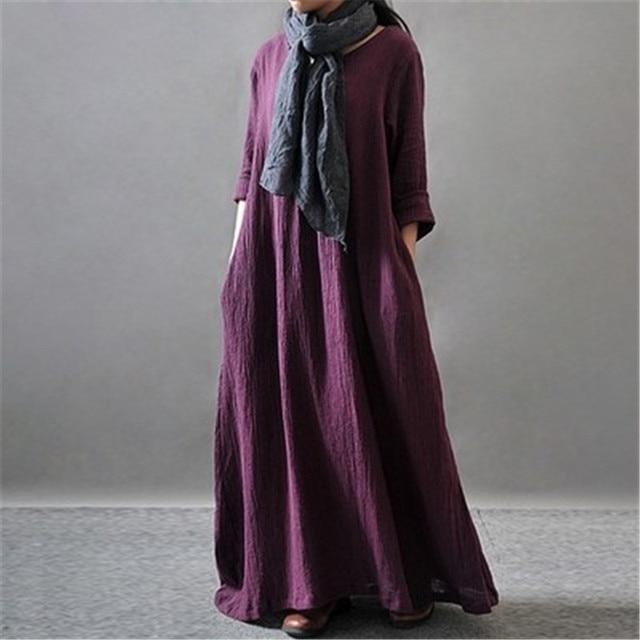 3aac855865b Wintetr Dress Long Sleeve Solid Color Black Orange Purple Women Full Dress  Cotton Linen Women Dress