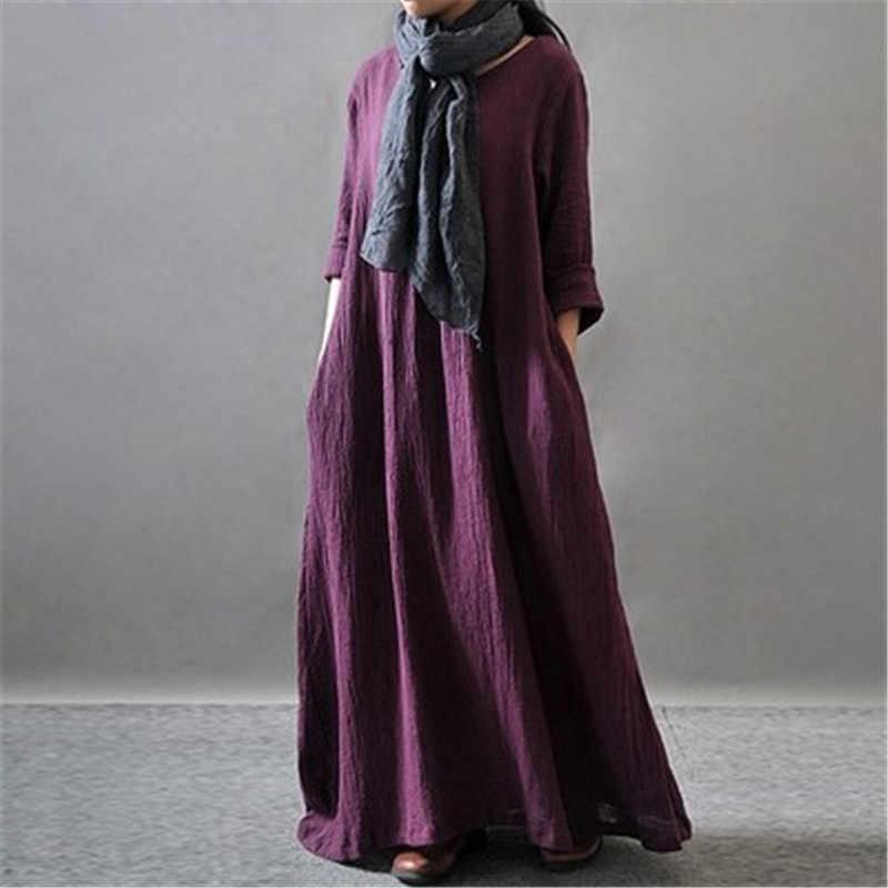 Wintetrドレスロングスリーブソリッドカラーブラックorange紫女性正装コットンリネン女性ドレスプラスサイズカジュアルマキシドレス