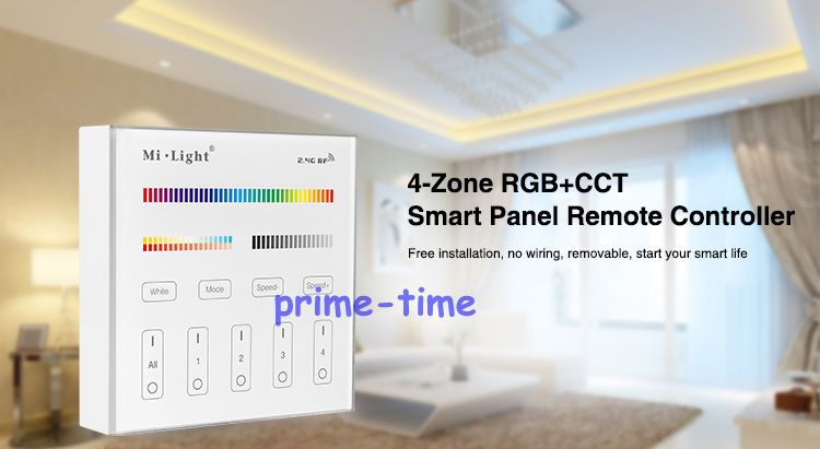 Mi.Light B4 4-Zone RGB+CCT Smart Panel Remote Controller Wall Mount 2.4G Wireless Powerd by 3V (2*AAA Battery) as <font><b>FUT092</b></font> image