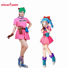 Dragon Ball Z Bulma Cosplay Kostuum Roze Jurk