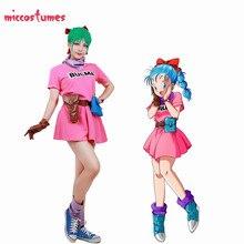 Dragon topu Z Bulma Cosplay kostüm pembe elbise