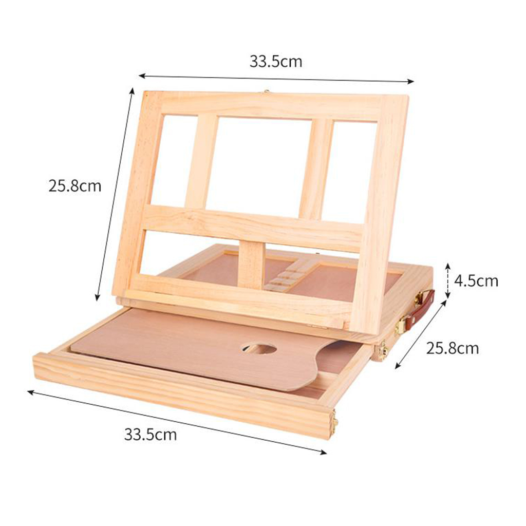 Artists Adjustable Desk Box Easel Natural Beechwood Wood Desk Table Easel with Storage Drawer Art Supplies