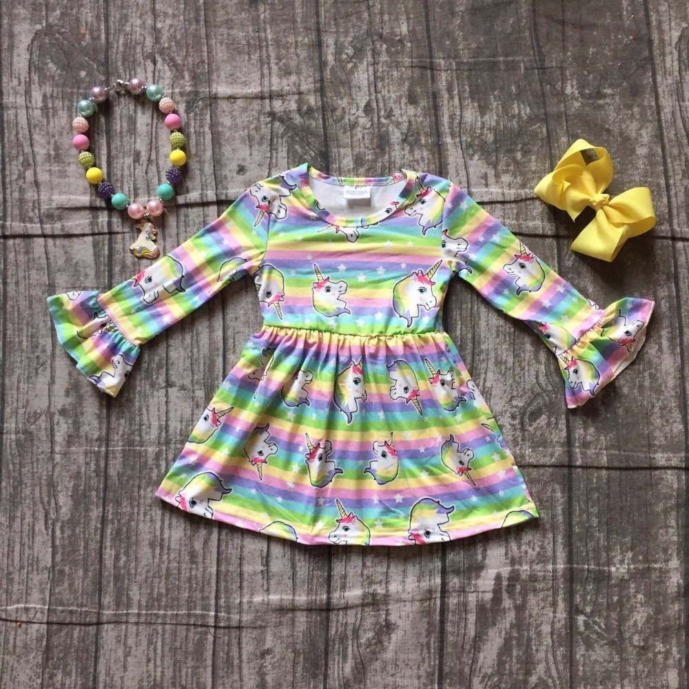 baby kids Fall  Autumn dress girls unicorn dress baby girls unicorn rainbow stripes dress boutique party dress with accessories
