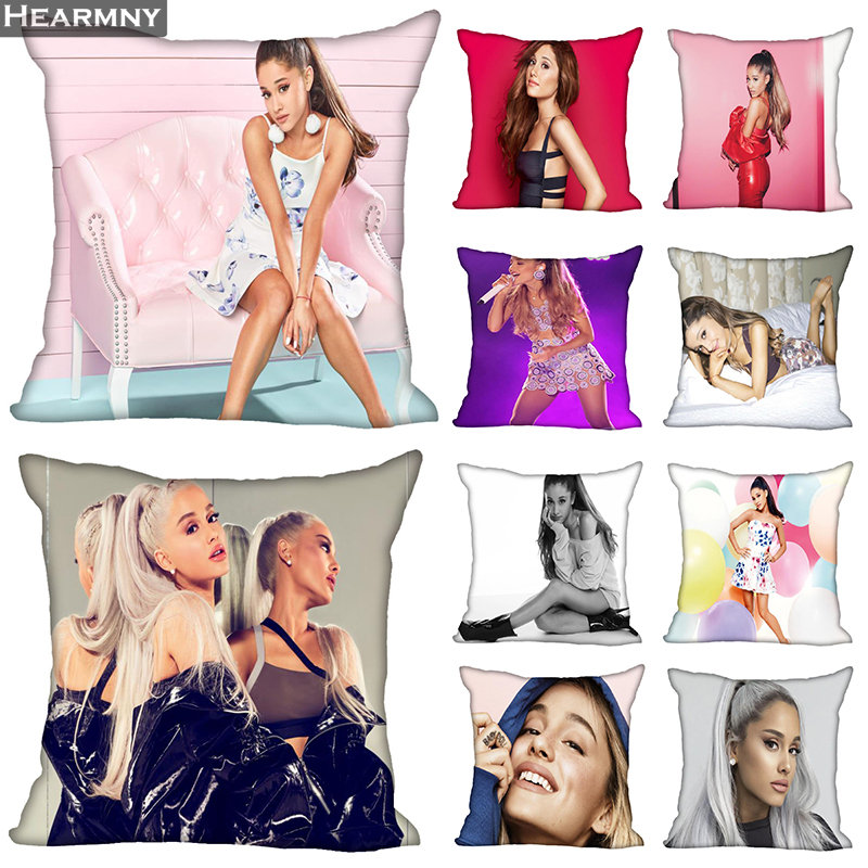 New Arrival Ariana  Grande Pillow Cover Bedroom Home Office Decorative Pillowcase Square Zipper Pillow Cases Satin Soft No Fade
