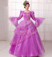 ม่วงชุดแต่งงานรอยัลสีม่วงชุดราตรีสำหรับผู้หญิงวิคตอเรียชุดรอยัลแขนยาวรอยัลราชินีชุ