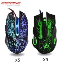 Estone X5 X9 Colorful Led Backlight USB Wired Optical Gaming Mouse Mice 800-2400DPI 6 Buttons Mouse Gamer For LOL PC Laptop