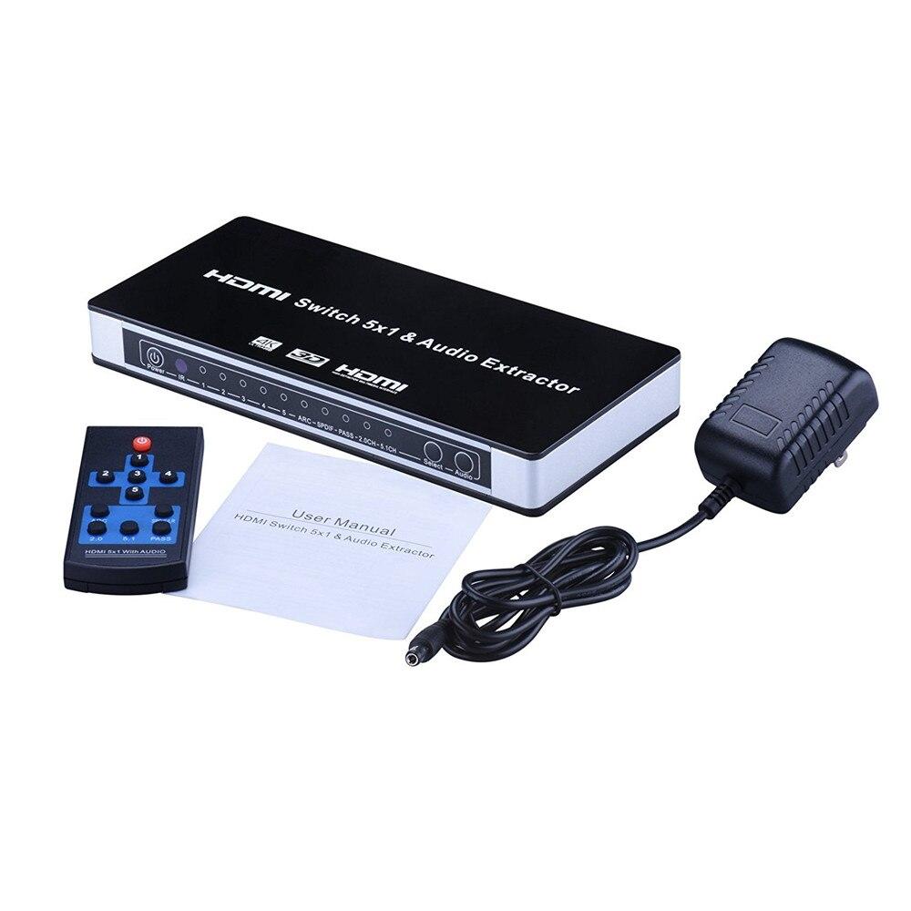 4K 1.4 HDMI commutateur 5 ports UHD 5x1 HDMI commutateur Audio extracteur avec ARC et IR à distance HDMI commutateur 4K pour PS3 PS4 Apple TV HDTV XBox