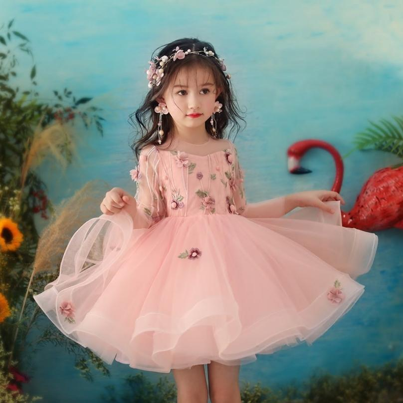 Baby Girl Princess Dress Wedding Birthday Party Gown Children Lace Mesh Prom Ball Gown Toddler Appliques Tutu Vestidos Y1281Baby Girl Princess Dress Wedding Birthday Party Gown Children Lace Mesh Prom Ball Gown Toddler Appliques Tutu Vestidos Y1281
