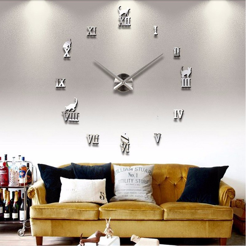 2018 Hot Sale 3d Mirror Big Wall Clock Modern Design Acrylic Living Room Quartz Needle Watch Masi Rui Clocks Free Shipping In From Home
