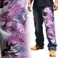 Новый Для мужчин джинсы вышивка прямой крой карп дракон Ограниченная серия штаны свободного кроя брюки C212