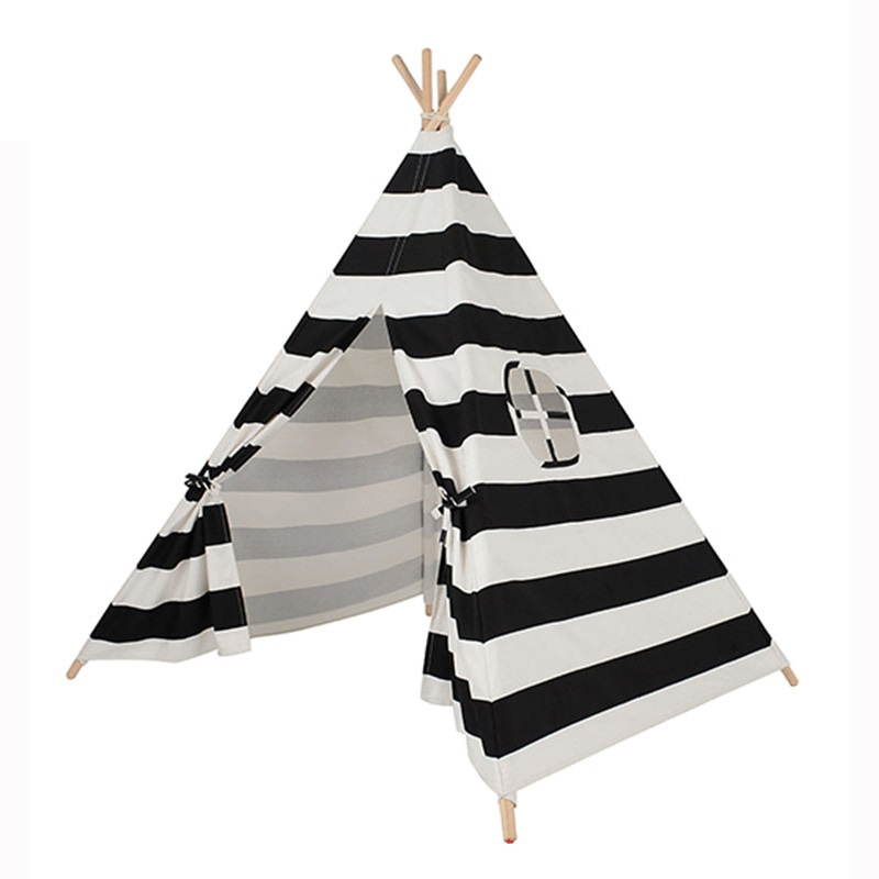Kids Indian Tipi Cotton Canvas Fabric Stripes Children Teepees Playhouse Indoor Toy Tent for Girls Boys Castle children tipi canvas cotton indian tent kids play house teepee baby game room playhouse boys and girls teepees toy tent page 6