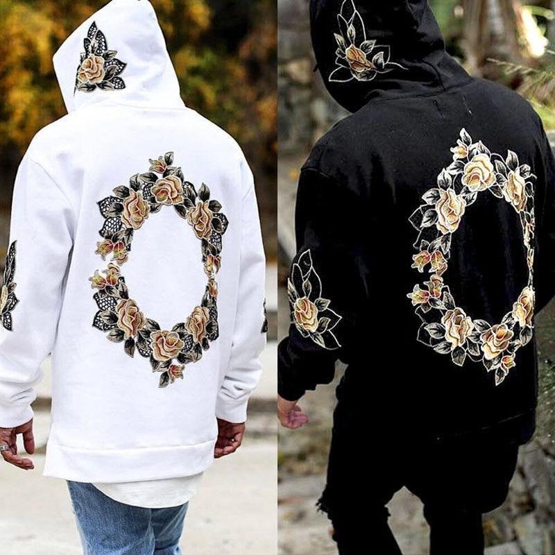 Billige Kaufen Aolamegs Hoodies Männer Stickerei Floral