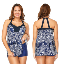Plus Size Swimwear 2019 New Tankini Swimsuits Women Bathing Suit Skirt Print Swimsuit Retro Beachwear Swimdress Tankini Set XXXL цена 2017