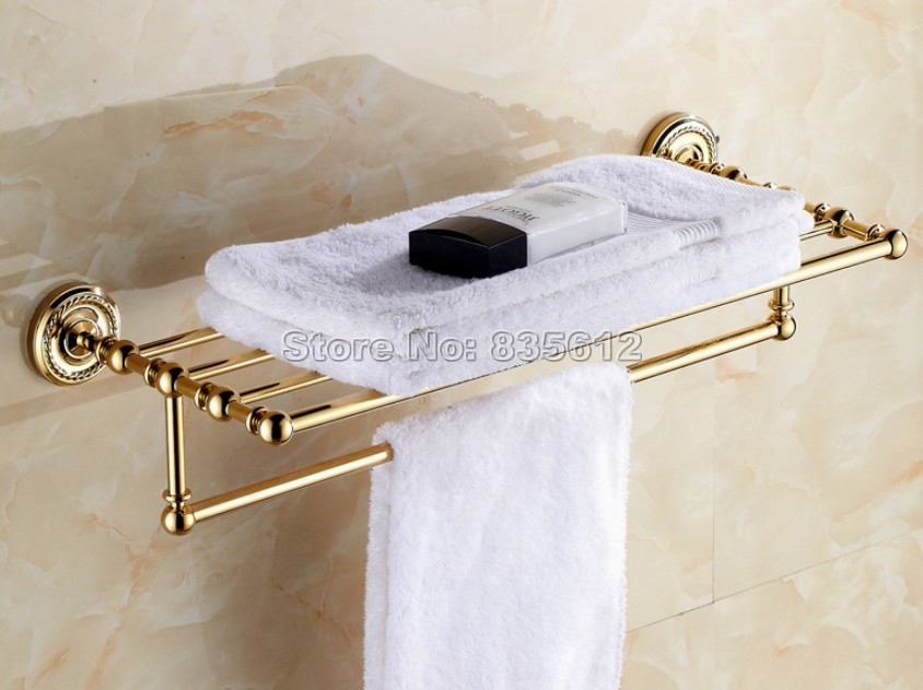 Luxury Gold Color Brass Wall Mounted Bathroom Towel Rack Holders Wba601 lowe alpine attack 25