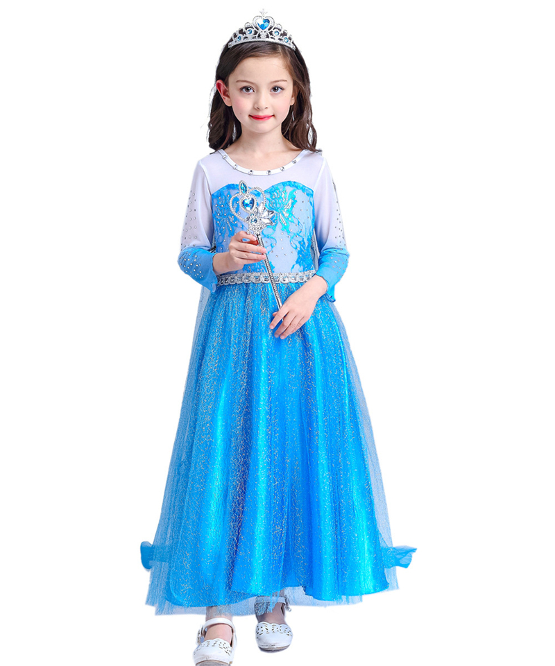 2016 Fashion Fall Autumn Dress Girls Elsa Dress Kids