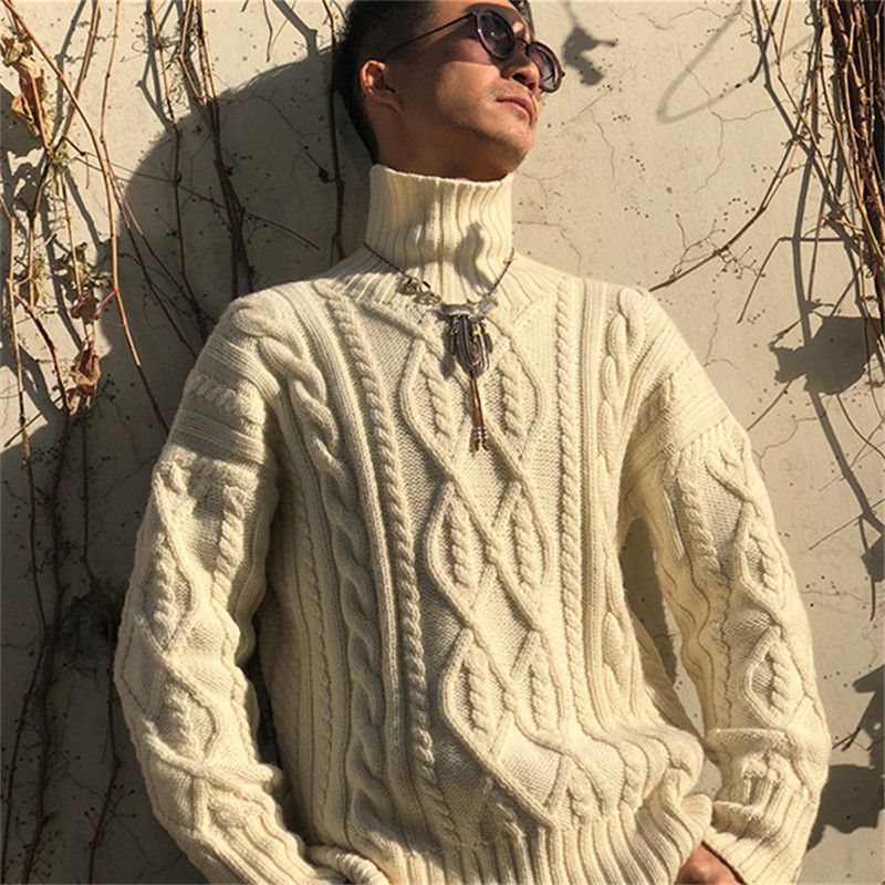 100% Hand Made Pure Wool Knit Men Fashion Twist Striped Turtleneck Solid Pullover Sweater Customized