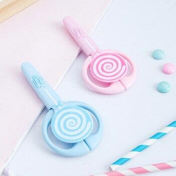 1PCS Mini Kids Scissors Kawaii Lollipop Safety Sleeve Stainless Steel  Student Scissors Cutting Stationery School Supplies