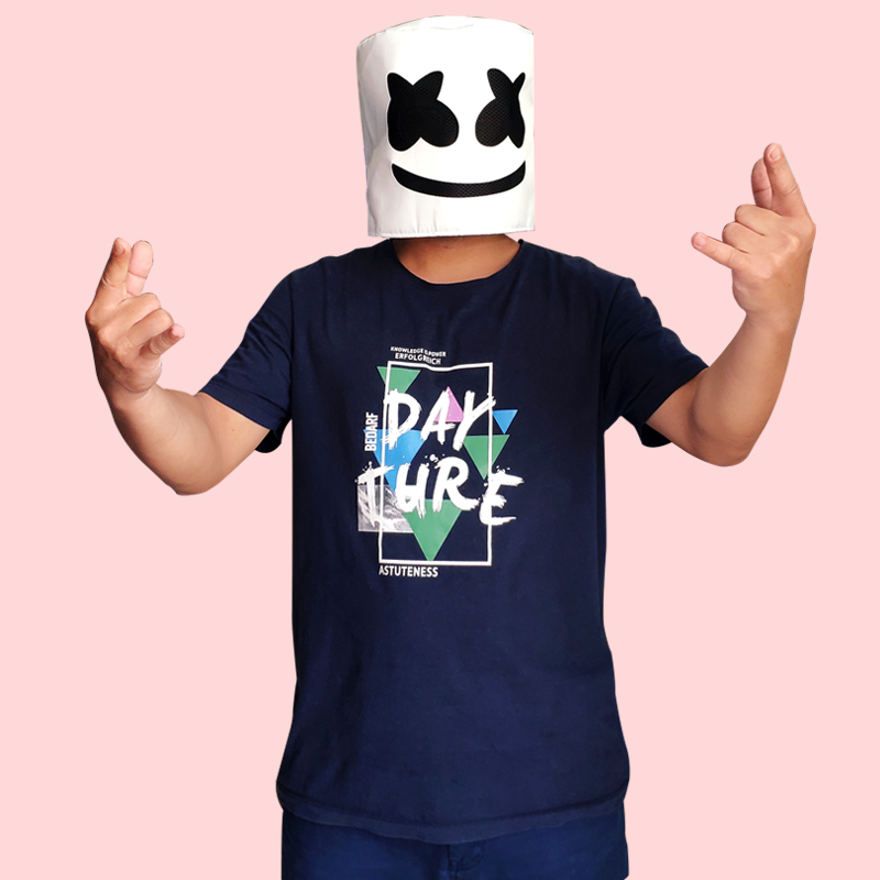 DJ Marshmello Mask Full Face Cosplay Costume Marshmello Cosplay Carnaval Halloween Prop Polyester Masks Headdress Accessories