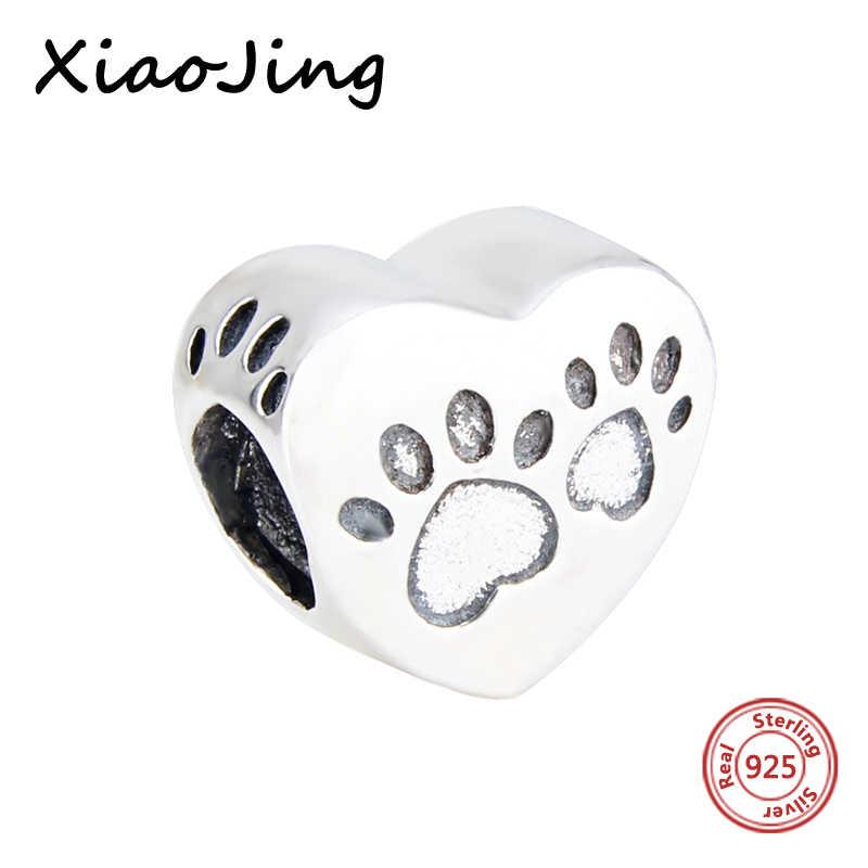 bea6f0fd0 Hot sale 925 sterling silver Charms original dog footprints Love Heart Beads  Fit European bracelet beads
