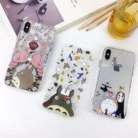 100 шт Тоторо Кот животные мягкий ударопрочный чехол для iPhone 7 8 Plus X XS Max XR чехол для телефона iPhone 6 6s Plus Funda Coque