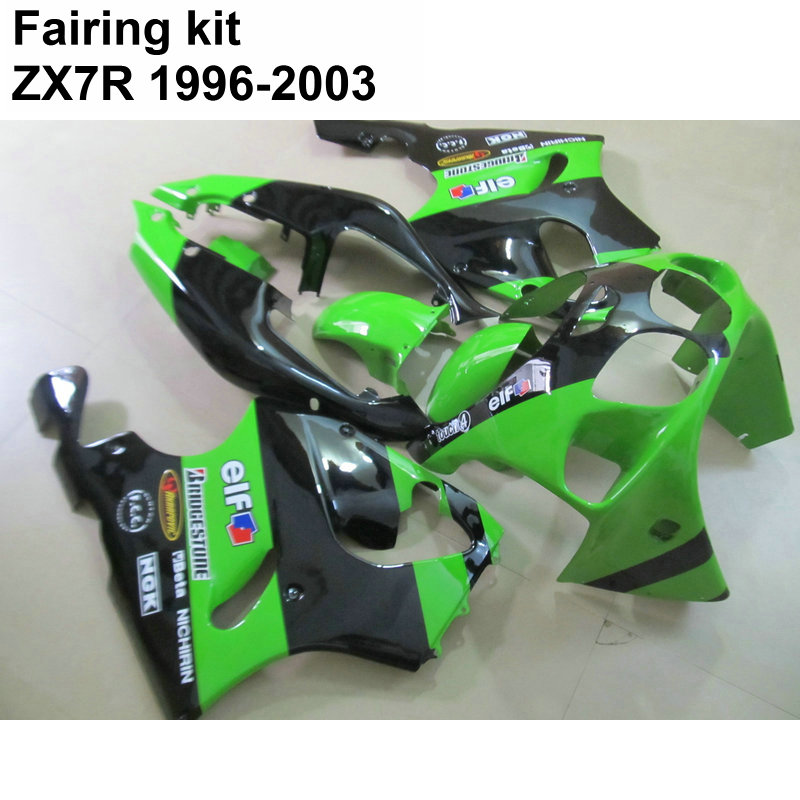 Bodywork fairing kit for Kawasaki Ninja ZX7R 96 97 98 03 green black fairings set ZX7R