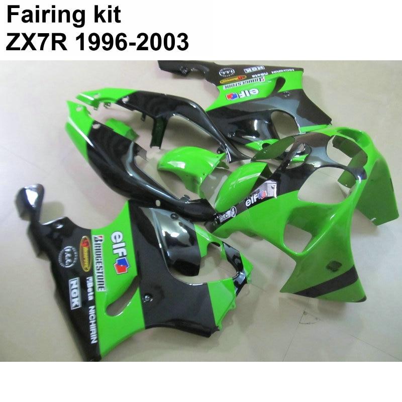 Carrosserie kit de carénage pour Kawasaki Ninja ZX7R 96 97 98-03 vert carénages noirs ensemble ZX7R 1996 1997 1998 -2003 OT11