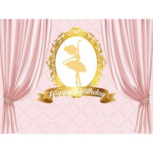 Image 3 - Funnytree Ballerina tänzerin banner hintergrund geburtstag rosa vorhang rahmen mädchen party fotografie hintergrund photophone photozone