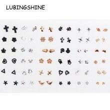 Conjunto de brincos femininos acrílicos, 36 pares de brincos de cristal acrílico, cruz pequena, menina, criança, dourado, preto, estrela, lua, joias presente