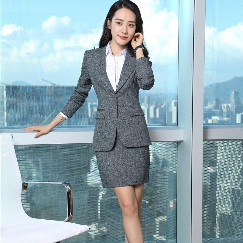 Taille Avec black Plus Bureau Costumes Blazers La Dames Uniforme Grey Gris Vestes D'affaires Et Styles Automne Hiver Jupe Femmes BUUA4aY