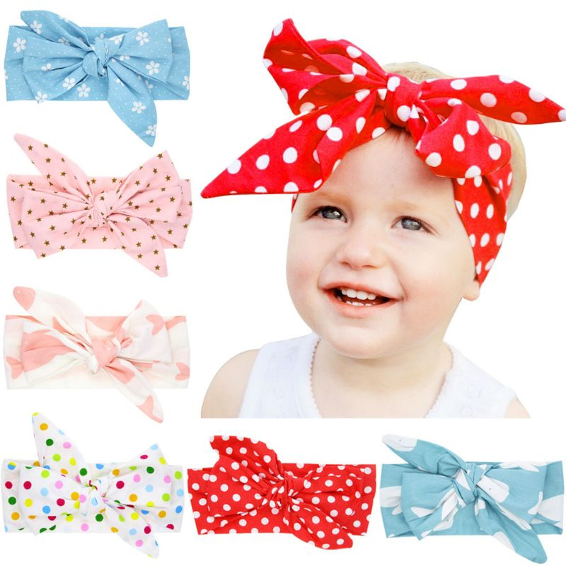 Baby Headband Bow Baby Cute Rabbit Ears Elastic Cloth Star Printed Bowknot Headband Birthday Party Accessories