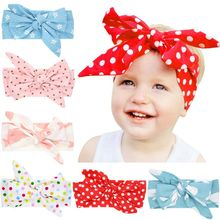 Baby Headband Bow Cute Rabbit Ears Elastic Cloth Star Printed Bowknot Birthday Party Accessories