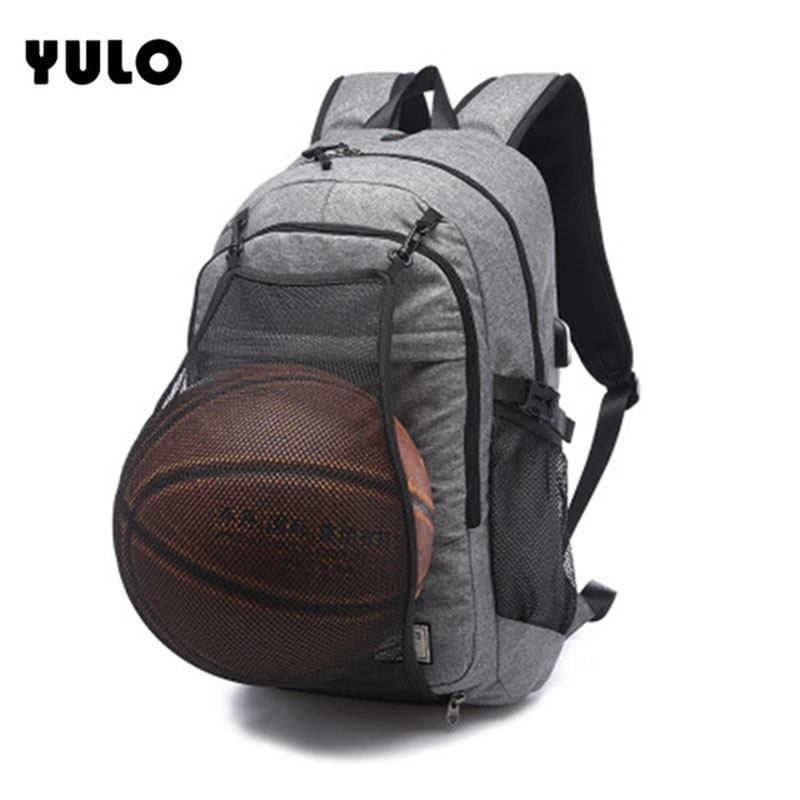 YULO Laptop Backpack For 15/16 inch USB Charging Anti-theft Computer Backpacks Male Gray Bags Daypack Women Travel Bag Mochila