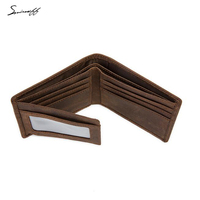 High Quality Cow Leather Men Wallet Handmade Custom Name Short Wallet ID Card Holder Small Pocket