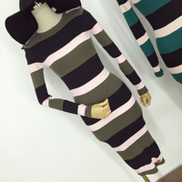 Alpha Round Neck Long-sleeved Sexy Bodycon Office Casual Knit Dress Pencil Slim Calf Length Woman Step Work Dress