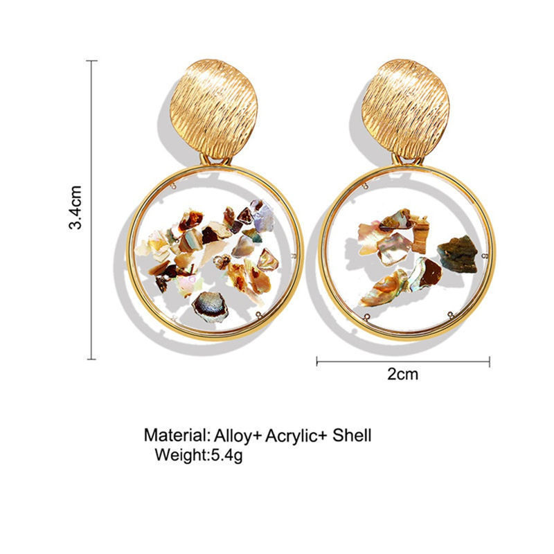 2019 Shell Acrylic Korean Earrings For Women Resin Round Stud Earrings Brincos Geometric Fashion Jewelry in Stud Earrings from Jewelry Accessories