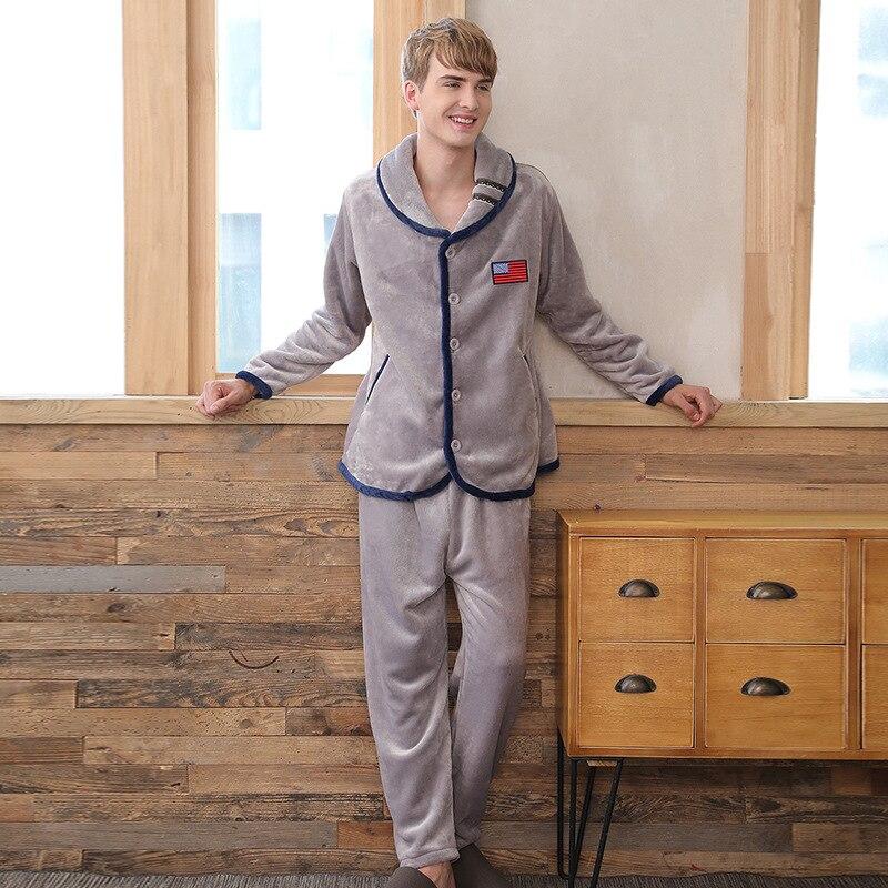 2019 New Winter Pajamas Men Thick Fleece Pajama Sets Luxury Warm Sleepwear Plaid Suits Man Casual Home Clothes Pijama in Men 39 s Pajama Sets from Underwear amp Sleepwears